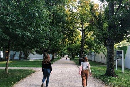 girls walking down a path