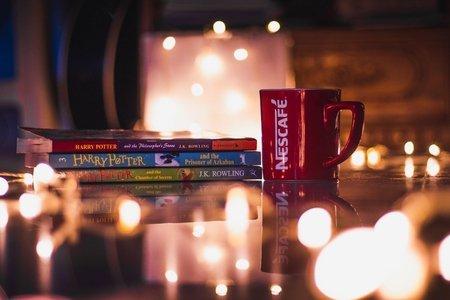 Books, harry potter, nescafe cup, lights