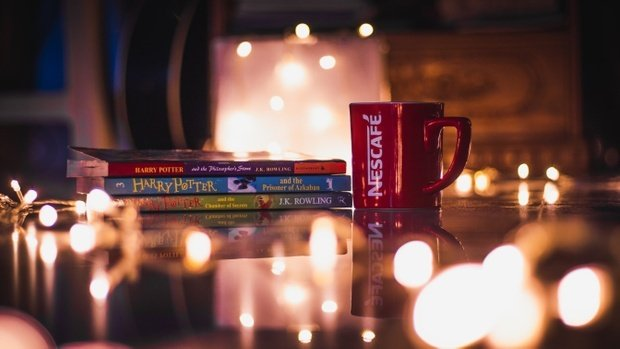 Books, harry potter, nescafe cup, lights