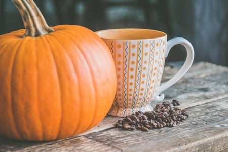 pumpkin and mug with coffee grounds
