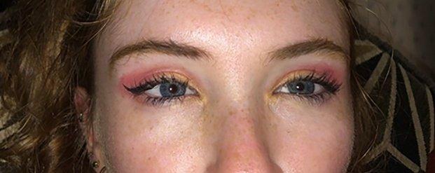 Eye makeup, sunset colors