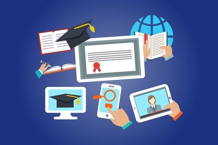 online learning collage with clipart images of different kinds of technology and books