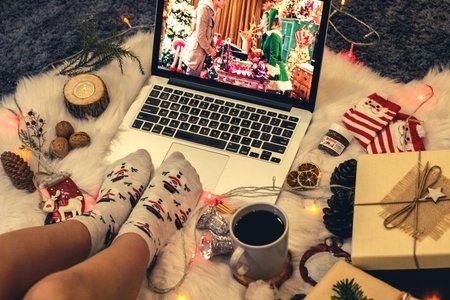 girl watching christmas movie