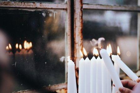 Menorah being lit