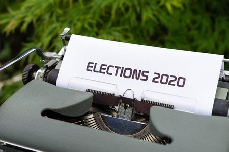 "Typewriter with ""Elections 2020"" typed on paper"