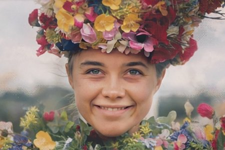 """screenshot from the movie """"Midsommar"""" - woman smiling"""