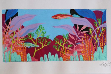 Colorful fish tank, white borders, signature on the bottom right corner
