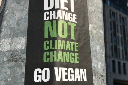 """Diet Change not climate change; go vegan"" sign"