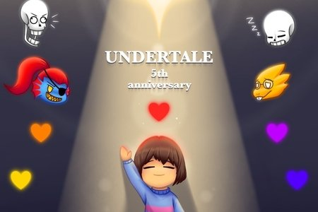 """Young Child with thier hand up, rainbow clored flowers surround them, animals and two human heads float above smiling, the word """"UNDERTALE"""" is written in the middle."""