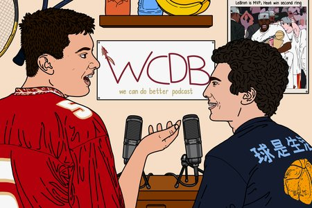 Graphic design of the logo for the We Can Do Better Podcast. It illustrates two men talking to each other.