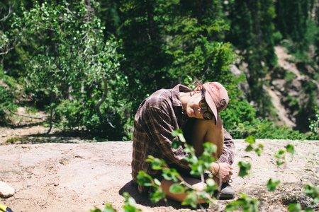 girl colorado travel hiking trees nature sitting nature