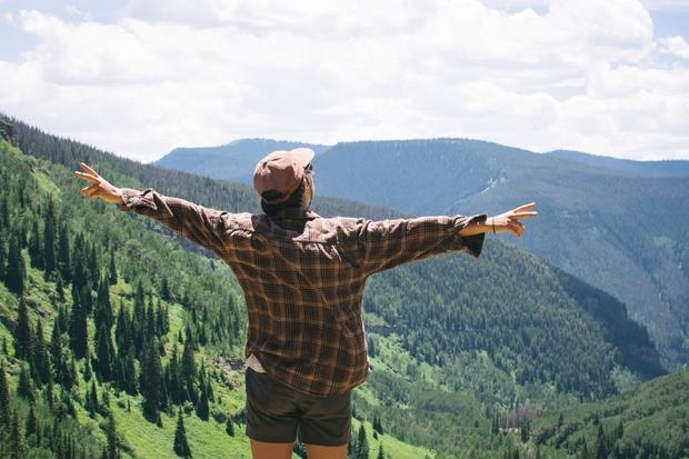 girl travel colorado hiking peace trees mountains