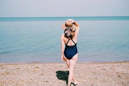 summer beach ocean one piece swimsuit sun hat water