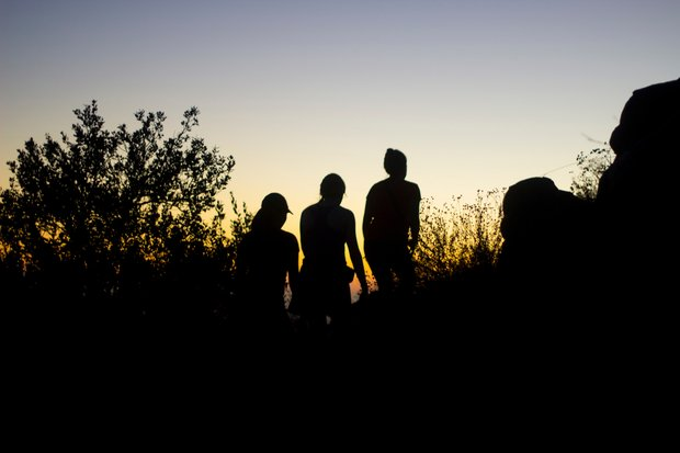 friends girls hike sunset mountains adventure silhouette