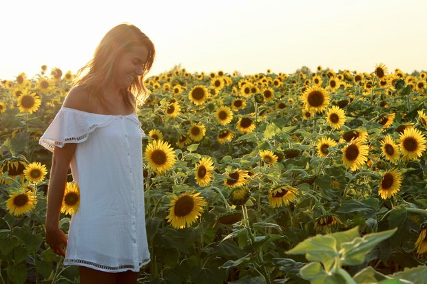 girl sunflower field happy white dress summer