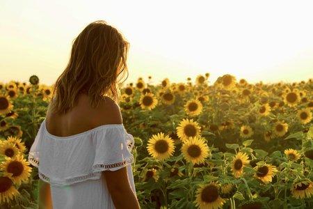 sunflower field girl wavy hair off shoulder white dress summer