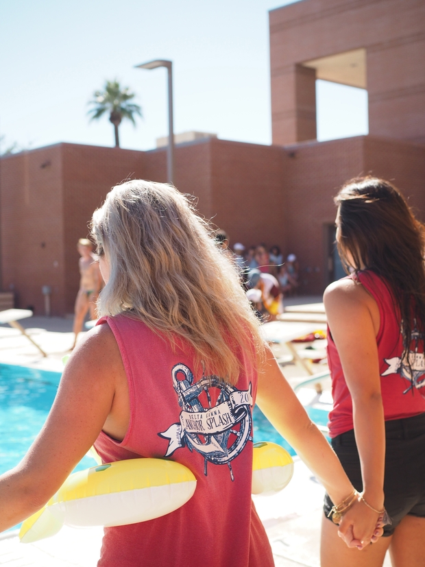 friends sorotiy philanthropy floaty arizona jumping in pool social