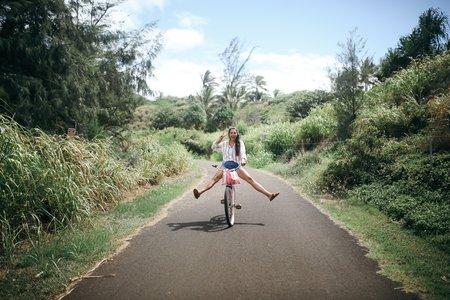 hawaii girl happy biking fun peace