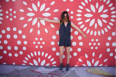 girl mural dancing dress boots happy pink miami