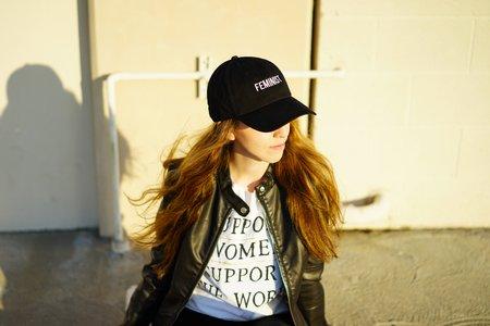 Laura Claypool-Feminist Black Baseball Cap Leather Jacket Girl