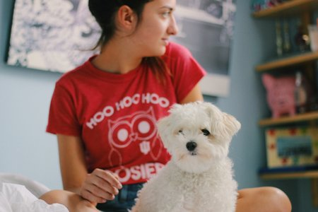 Girl In Iu Hoosiers Shirt With Dog