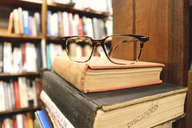 The Lalastack Of Old Books And Glasses