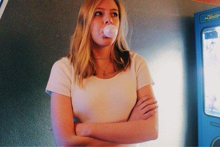 Anna Schultz-Girl Blowing Bubble In Arcade