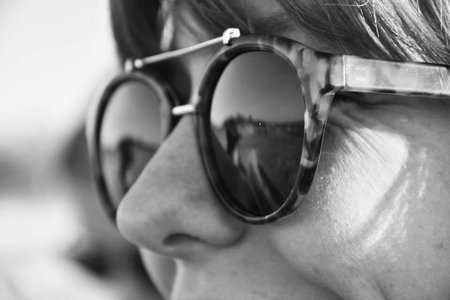 Girl With Sunglasses Close Up Black And White