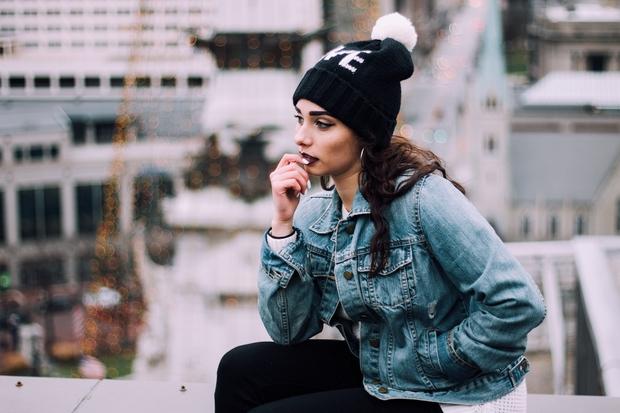 Jean Jacket With Pom Pom Beanie In The City 3
