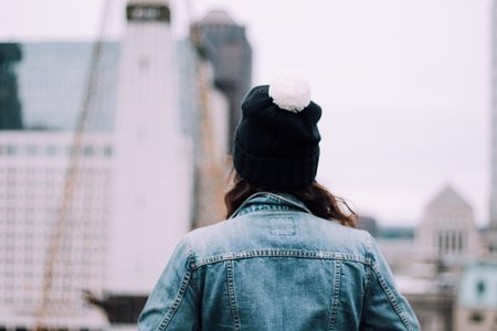 Jean Jacket With Pom Pom Beanie In The City 1