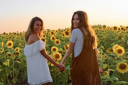 Maria Scheller-Best Friends Holding Hands Sunflower Field Dresses Summer Happy Sunset