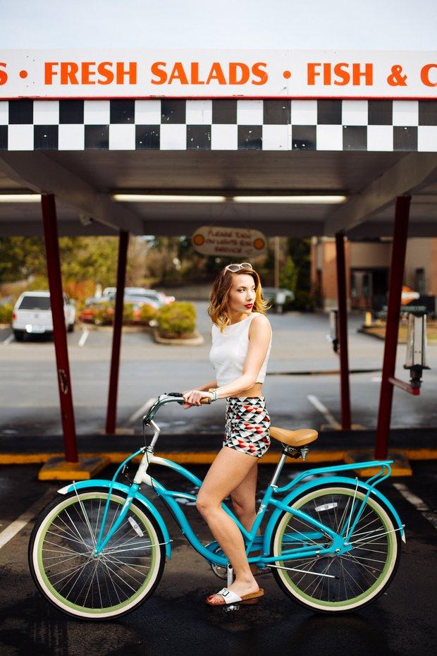 Girl On Retro Bike