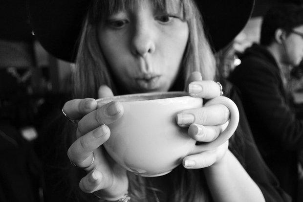 Girl With Coffee Mug Black And White