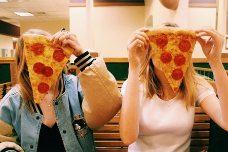 Anna Schultz-Girls Posing With Pizza