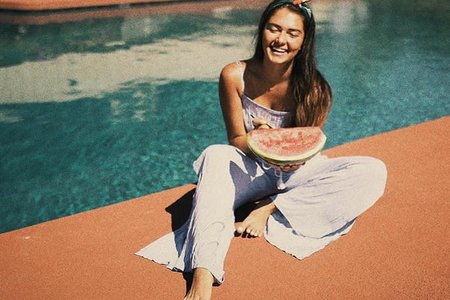 Girl Laughing Watermelon Pool Summer
