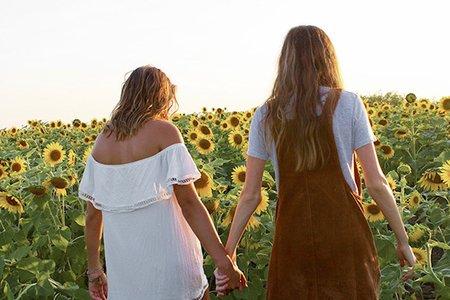 Maria Scheller-Friends Holding Hands Sunflower Field Dresses Summer