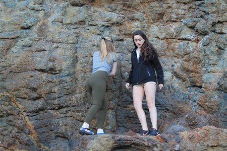 Girls Hiking Adventure Rocks California Climbing Fun