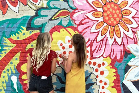 Maria Scheller-Two Girls Friends Long Hair Blonde And Burnette Flower Mural