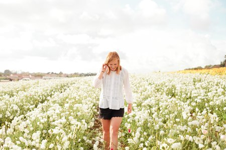 Molly Peach-Red Head Flower Fields