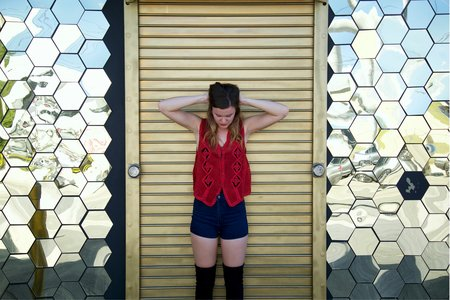 Lindsay Thompson-Miami Mirror Walls Vest Serious Stressed