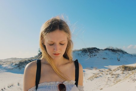 Anna Schultz-Girl In Contemplation On Sand Dune