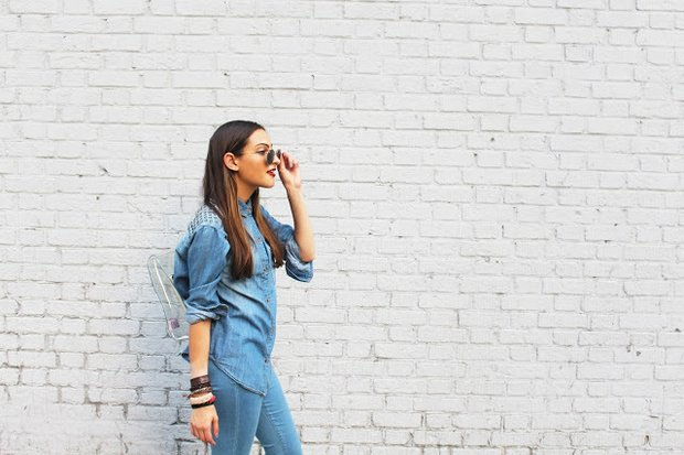 Girl In All Denim With White Wall