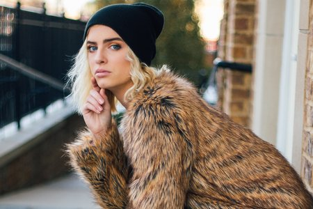Fur Coat And Beanie
