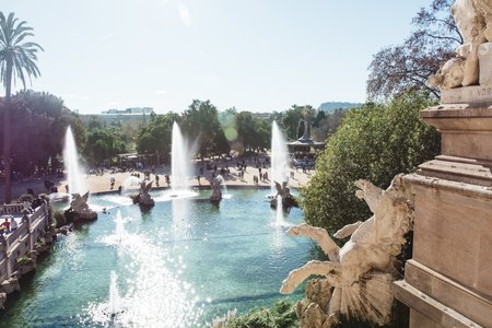 Cameron Smith-Spain Barcelona Abroad Park Water Sunny Summer Palm Trees Fountain Statue.Jpg