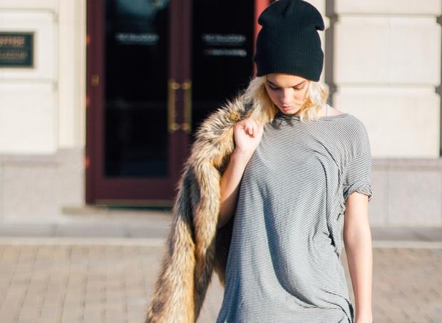 Fur Coat, Beanie, Stripe Shirt