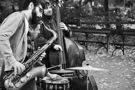 Street Performers In The Park B&W 4