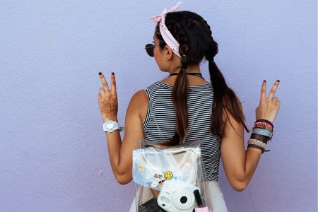 Girl With Peace Pigtails Sign Back