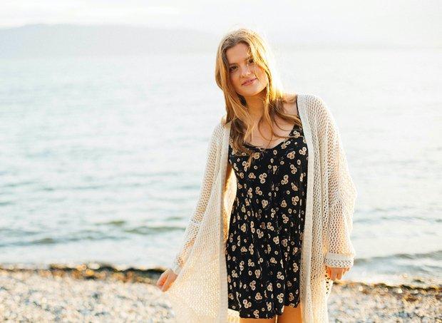 Girl On Beach In Sundress