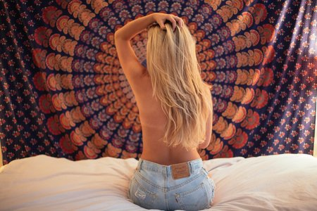 Tapestry Bare Back Blonde Girl 2