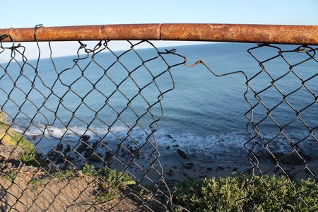 Fence Broken Ocean Plants Hiking Adventure Fun Original